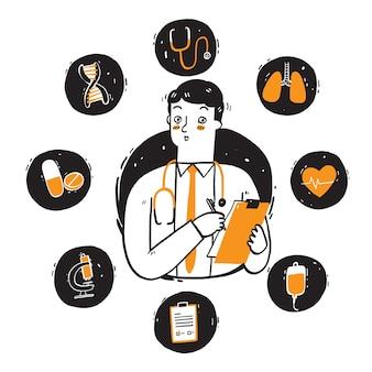 Lekarz ze stetoskopem na szyi, zestaw ikon leczenia chorób