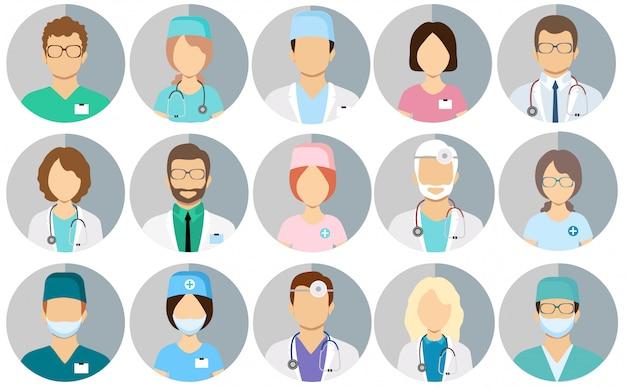 Lekarze awatarscy. personel medyczny - zestaw ikon z lekarzami, chirurgami, pielęgniarkami i innymi lekarzami.