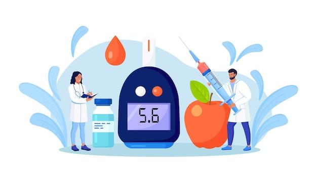 Lekarze badający krew pod kątem glukozy, używający glukometru do diagnozy hipoglikemii lub cukrzycy. sprzęt laboratoryjny i strzykawka. lekarz mierzący poziom cukru