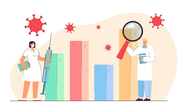 Lekarze badający statystyki koronawirusa. mężczyzna trzymający lupę, kobieta ze szczepionką nosząca maskę płaską ilustrację
