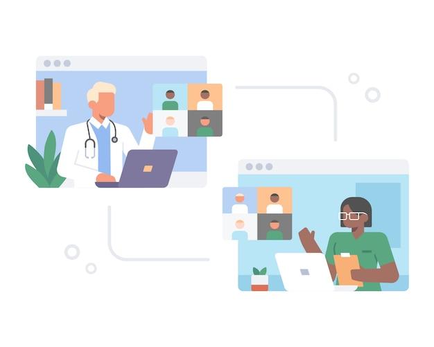 Lekarze biorą udział w spotkaniu online przez rozmowę wideo za pomocą strony internetowej aplikacji telekonferencyjnej z koncepcją ilustracji laptopa lub komputera