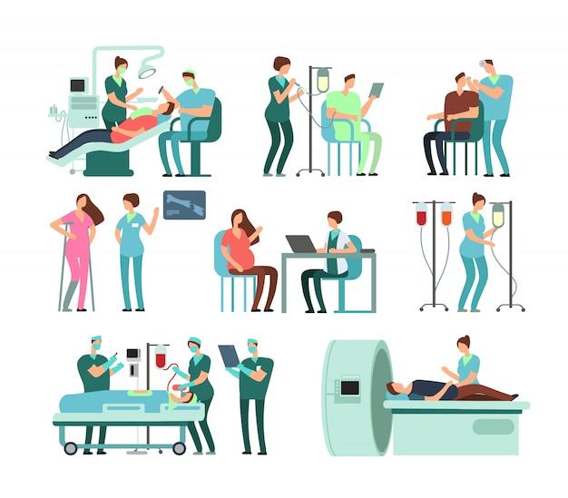 Lekarze i pacjenci w klinice. wektorowi ludzie i medycyna odizolowywający