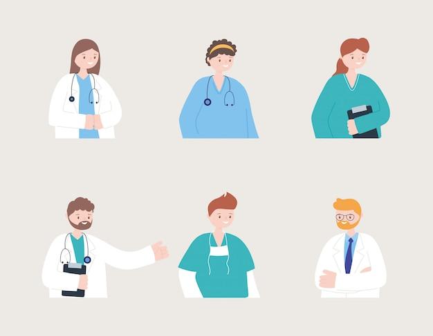 Lekarze i pielęgniarki, pielęgniarki portretowe, personel medyczny, grupa medyczna