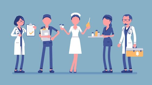 Lekarze i pielęgniarki zestaw ilustracji