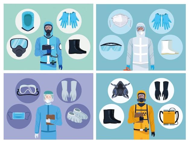 Lekarze i pracownicy ds. bezpieczeństwa biologicznego z elementami wyposażenia do ochrony covid19
