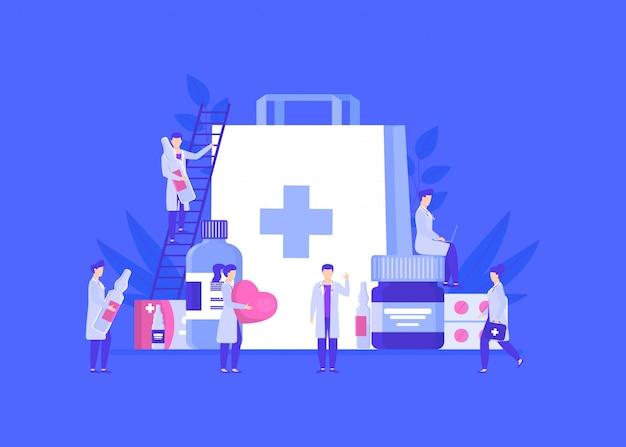 Lekarze lub farmaceuci zespalają się wśród leków w słoikach, ampułkach, pigułkach ilustracyjnych.