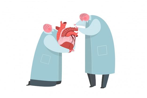 Lekarze lub naukowcy pracujący na narząd dawcy przeszczepu serca.