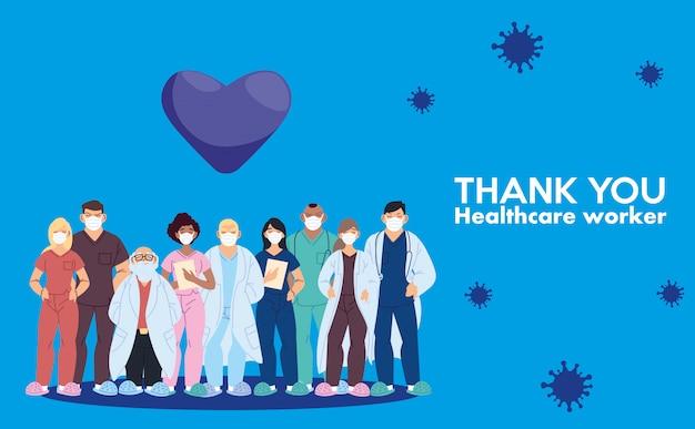 Lekarze mężczyźni i kobiety z maskami i dziękuję pracownikom służby zdrowia za projekt opieki medycznej i motyw wirusa covid 19