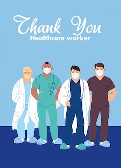 Lekarze mężczyźni z projektowaniem masek opieki medycznej i motywem wirusa covid 19
