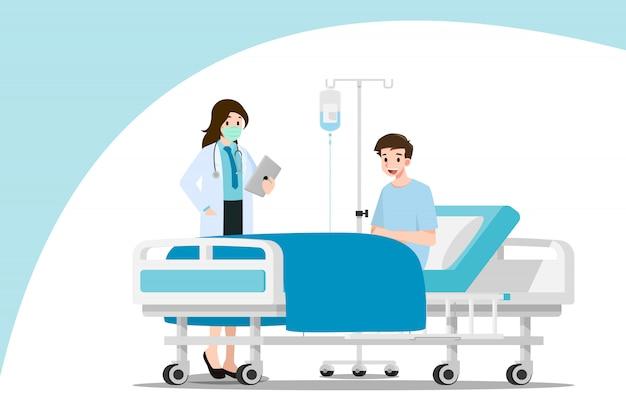 Lekarze odwiedzają i leczą pacjenta.