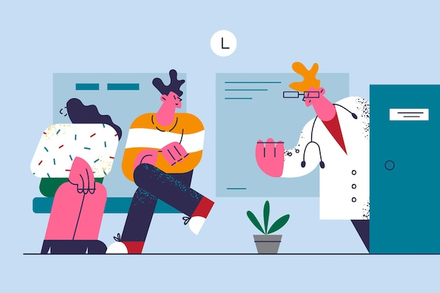 Lekarze Opieki Zdrowotnej Medicare W Pracy Ilustracja Premium Wektorów