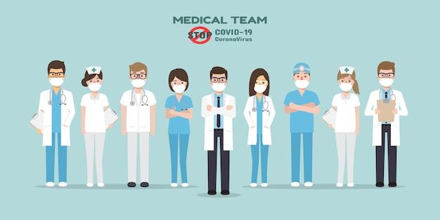 Lekarze, pielęgniarki i personel medyczny z plakatem proszącym o unikanie wirusa corona i rozprzestrzeniania się covid-19 przez pozostanie w domu. świadomość choroby koronawirusa.