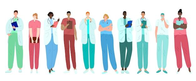 Lekarze, pracownicy medyczni, medycy i pielęgniarki. przedstawiciele różnych specjalności medycznych. zróżnicowany etnicznie.