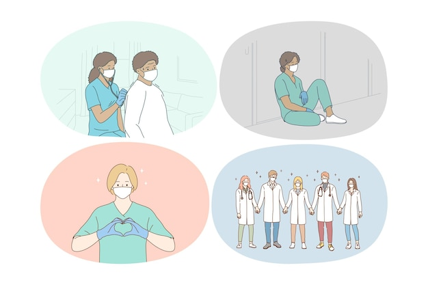 Lekarze pracują zespołowo, łącząc wysiłki przeciwko ilustracji koncepcji pandemii covid-19