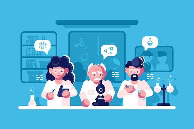 Lekarze pracujący przy badaniach ilustracji laboratoryjnych
