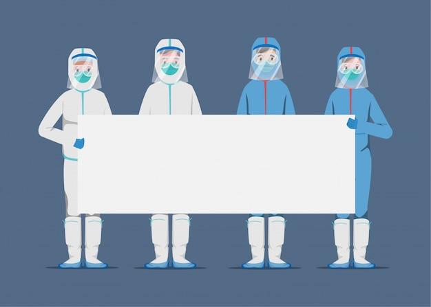 Lekarze ratujący pacjentów przed wybuchem koronawirusa. walcz do koncepcji covid-19. zapisz koncepcję lekarza.