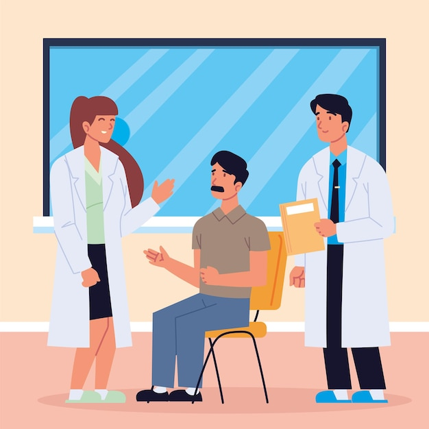 Lekarze rozmawiają o konsultacjach z pacjentem