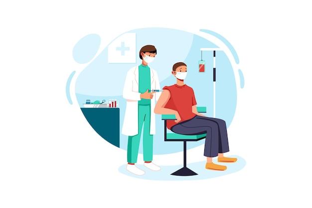 Lekarze szczepią pacjentów płci męskiej