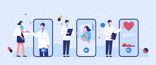Lekarze udzielają porad online pacjentom z epidemią koronawirusa, korzystając z połączeń wideo.