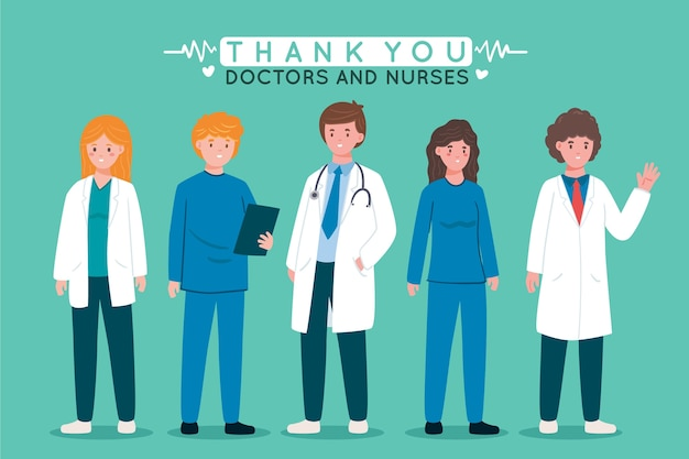 Lekarze w białej szacie dziękuję