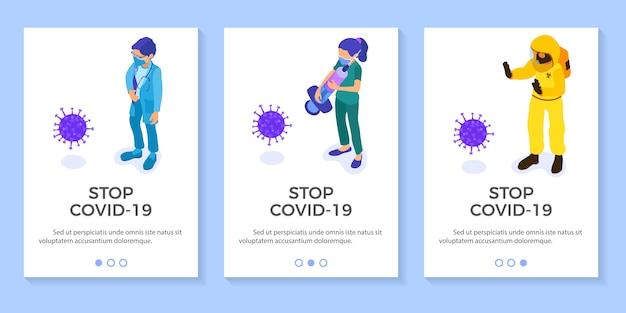 Lekarze w kombinezonie ochronnym zatrzymują koronawirusa
