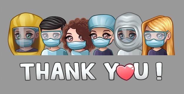 Lekarze w maskach medycznych i tekst dziękuję