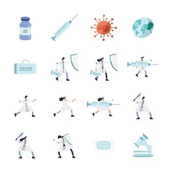 Lekarze w maskach medycznych z ilustracją ikon szczepionki