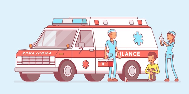 Lekarze w pobliżu samochodu pogotowia