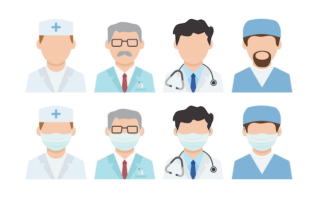 Lekarze wektor ikona. dezynfekcja. maski na twarz, pracownicy medyczni. ochrona przed wirusami. ilustracja opieki zdrowotnej