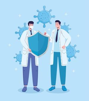 Lekarze z ilustracją cząstek tarczy i wirusa