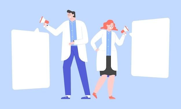 Lekarze z megafonami. mężczyzna i kobieta w białych płaszczach zgłaszają ważne wiadomości. świadomość populacji na temat chorób, opieki zdrowotnej. płaska ilustracja.