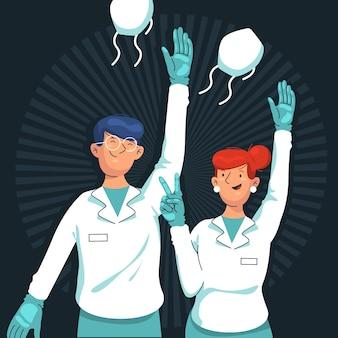 Lekarze zdejmujący maskę