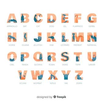 Lekcja alfabetyczna z alfabetem kolekcji zwierząt
