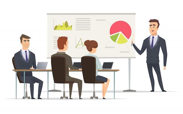 Lekcja biznesowa. nauczyciel menedżer uczenia się na wykładzie prezentacji koncepcji marketingowej planu marketingowego na tablicy spotkanie ludzi