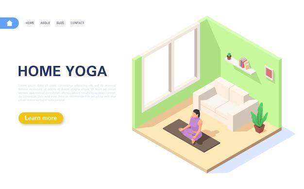 Lekcja jogi na stronie docelowej w domu. dziewczyna siedzi w pozycji lotosu.