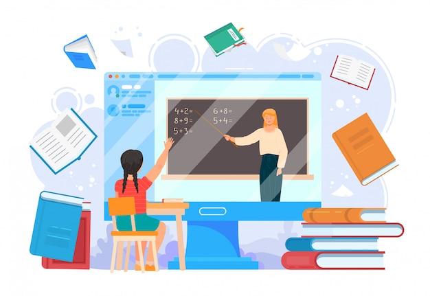 Lekcja online edukacji szkolnej. ekran komputerowy z nauczyciela i dziewczyny edukacją na laptop ilustraci. internetowa technologia uczenia się młodych studentów, kurs na webinarium uniwersyteckim