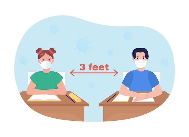 Lekcja szkolna dystansująca ilustracja wektorowa 2d na białym tle