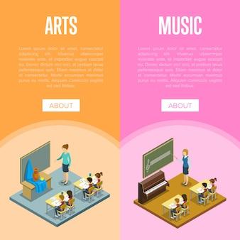 Lekcja sztuki i muzyki w szablonie banner szkolny