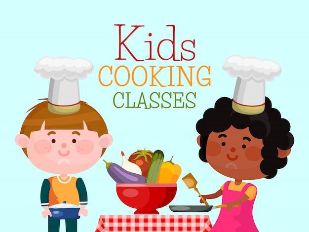 Lekcje gotowania dla dzieci szefów kuchni. chłopiec i dziewczynka gotują jedzenie. uśmiechnięte dzieci stoją przy stole.
