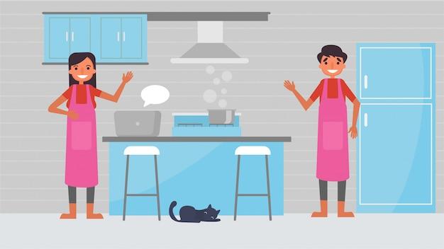 Lekcje gotowania, hobby, które spędzają razem pary kochanków, czas z bliskimi szczęściem żadnego miejsca jak koncepcja domu, kolorowy ilustracyjny płaski styl kreskówki.