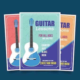 Lekcje gry na gitarze ulotki szablon wektor