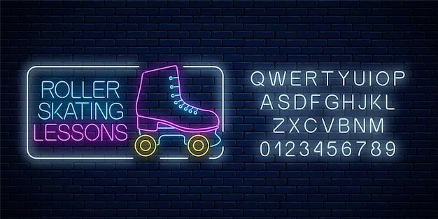 Lekcje jazdy na rolkach reklama znak z alfabetu. retro wrotki świecące neon znak. symbol strefy skate w stylu neonowym. ilustracja.