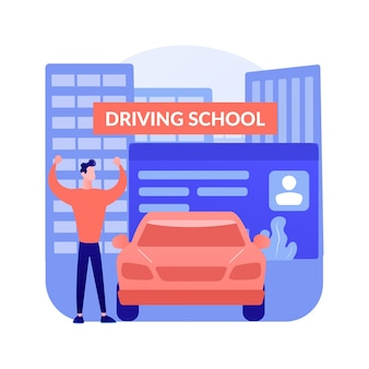 Lekcje jazdy streszczenie koncepcja wektor ilustracja. szkoła jazdy, klasa początkująca, lekcja odświeżająca, kurs intensywny, przygotowanie do egzaminu, poziom zaawansowany, abstrakcyjna metafora certyfikowanego instruktora.