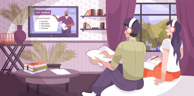 Lekcje językowe skład online z płaskim wnętrzem domu i para w słuchawkach słuchająca nauczyciela telewizyjnego