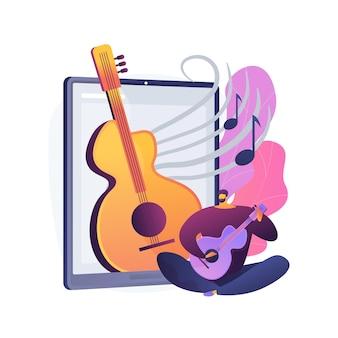 Lekcje muzyki online streszczenie ilustracja koncepcja. wideokonferencje na żywo, nauczyciel muzyki, zakazywana kwarantanna, prywatne praktyki online, profesjonalne porady