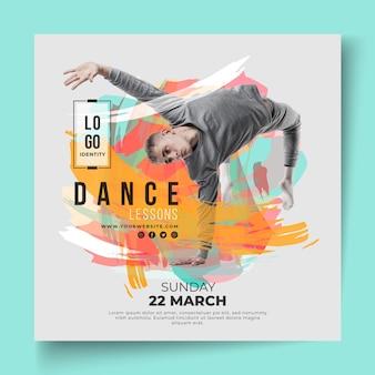 Lekcje tańca kwadratowy szablon ulotki