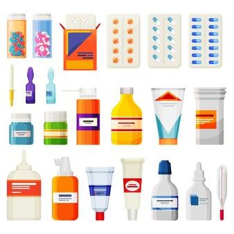 Leki apteczne na białym tle