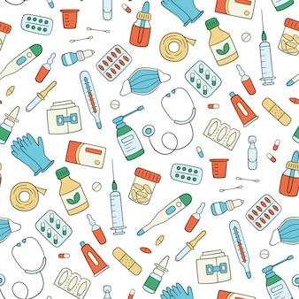 Leki, leki, pigułki, butelki i elementy medyczne. kolor bez szwu. ilustracja w stylu bazgroły na białym tle