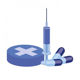 Leki leków na białym tle