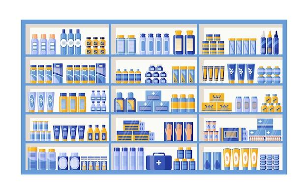 Leki na półce apteki. półka apteczna na półkach drogeryjnych. ilustracja wektorowa.